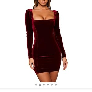 Long sleeve body con velvet mini dress.